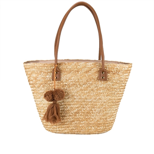 Bolsa de Praia Pagani com Pingente Ráfia Caramelo